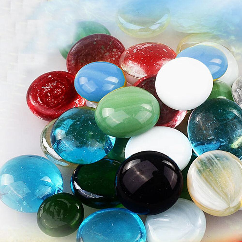 3x home fish tank vase diy decor colorful flat glass - Glass stones for fish tanks ...