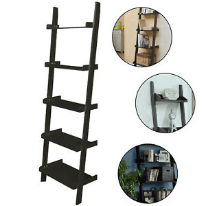 5-TIERS-WOODEN-WALL-LEANING-LADDER-SHELF-DISPLAY-BOOKCASE-STORAGE-SHELVES