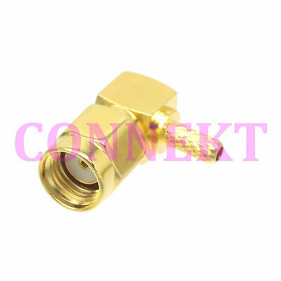 10pcs RP-SMA male jack center right angle crimp RG174 RG316 LMR100 RF connector