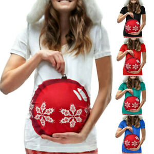 Women-Pregnancy-Maternity-Christmas-Cartoon-Short-Sleeve-Tops-T-Shirt-Blouse-Tee