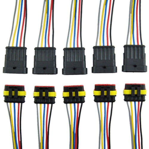 5Pcs 5 Pin Way Car Auto Waterproof Electrical Connector Plug Wire AWG HID Fog