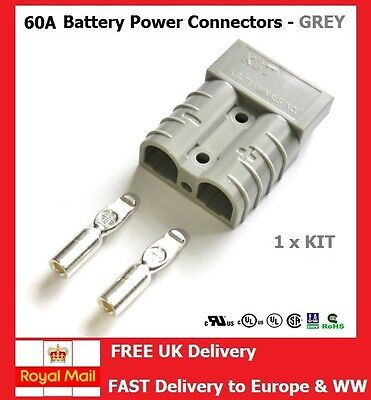 60AMP BATTERY POWER CONNECTORS ANDERSON SB50 COMPATIBLE GREY 10mm²  8A.W.G 1KIT