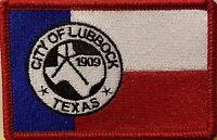 Lubbock Texas Flag Military Patch With Velcro® Brand Fastener Red Border 7