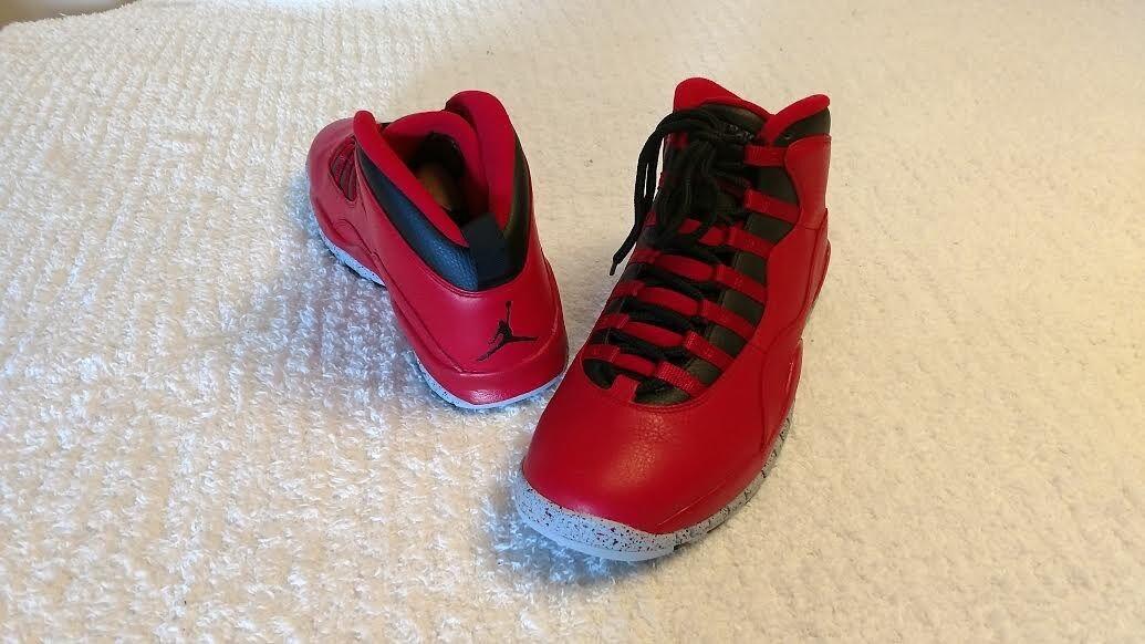 Nike air jordan 10 '30 nuovi uomini dimensioni rosso / nero
