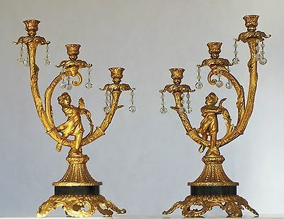 Paar Empire Kerzenleuchter 19.Jhd Bronze vergoldet Candelabra Pair Candle Holder