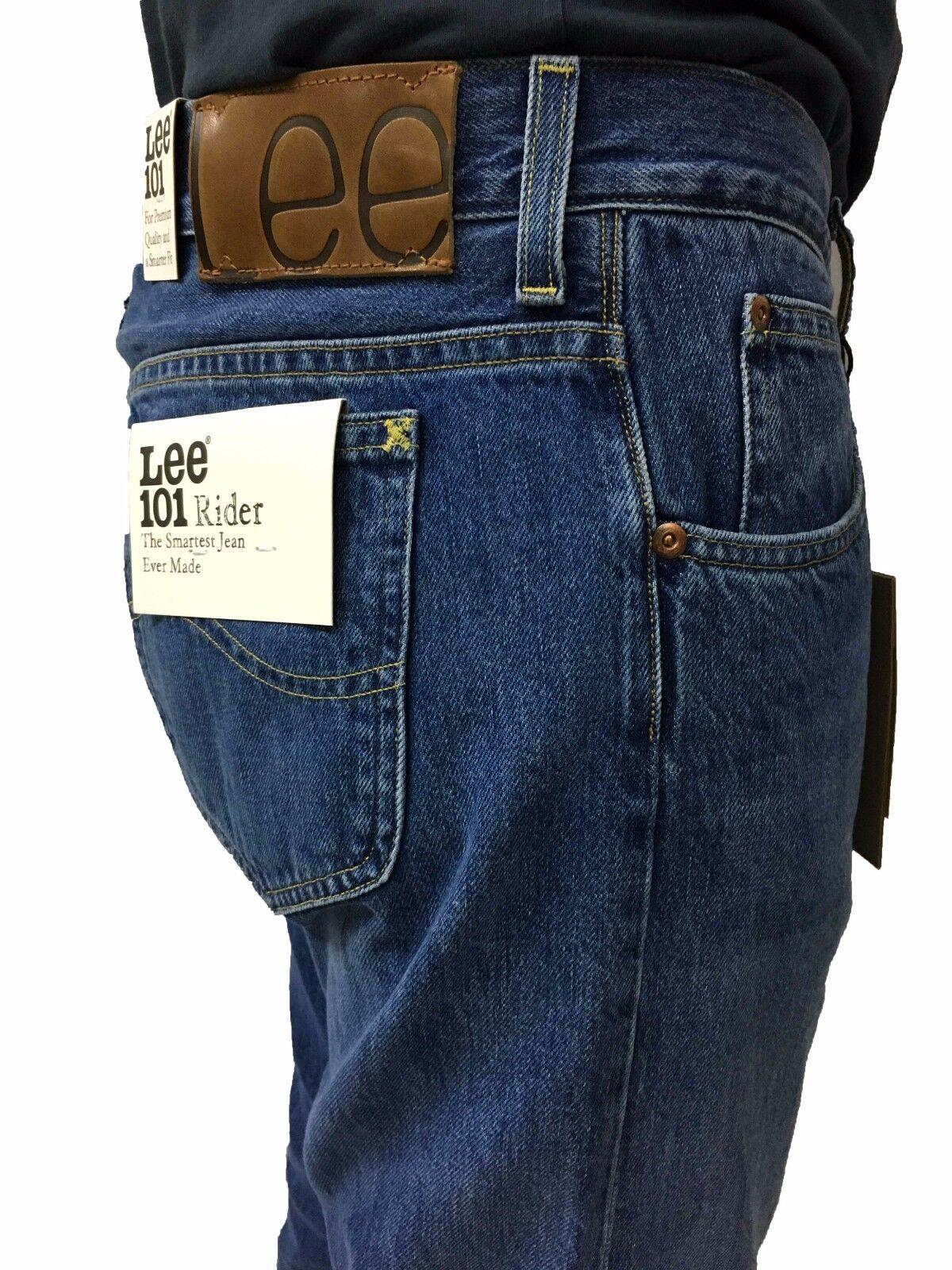 LEE 101 jeans uomo mod RIDER colore colore colore stone washed L96681GH con zip 100% cottone 41fdd6