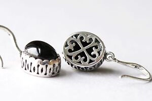 Black-Onyx-Stone-925-Sterling-Silver-Vintage-Style-Dangle-Hook-Earrings