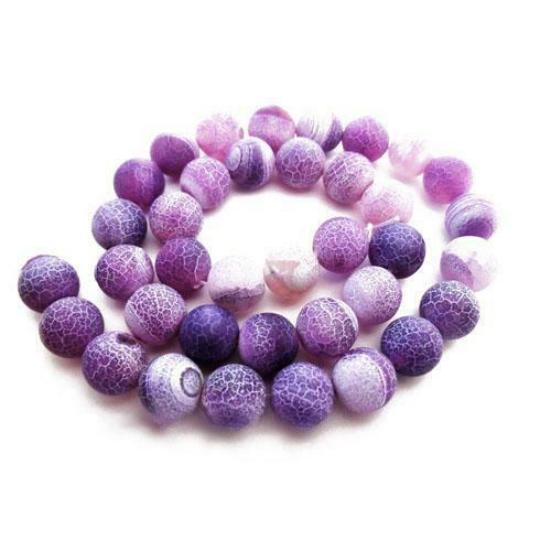 Pcs Gemstones Jewellery Making Frosted Cracked Agate Round Beads 10mm Purple 38