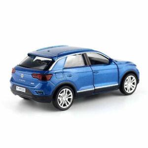 T-ROC-SUV-1-36-Die-Cast-Modellauto-Spielzeug-Kinder-Sammlung-Pull-Back-Blau