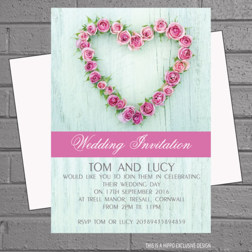 Roses Wooden Back Wedding Day Evening Party Invitations x 12 envs H0160