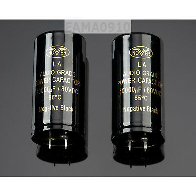 Black 10000uF 80V 30x60mm Capacitor Electrolytic Audio 10000 UF MFD Replace Part