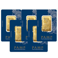 Lot of 5 Gold 1 oz PAMP Gold Suisse Lady Fortuna .9999 Fine Sealed Bars