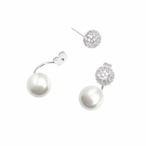 18k White Gold Plated S Pearl Made With Swarovski Elements Ball Earrings Ebay