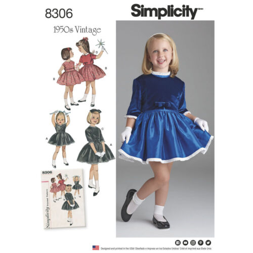 Simplicity Pattern 8306 Child/'s Vintage 1950s Dress and Lined Jacket