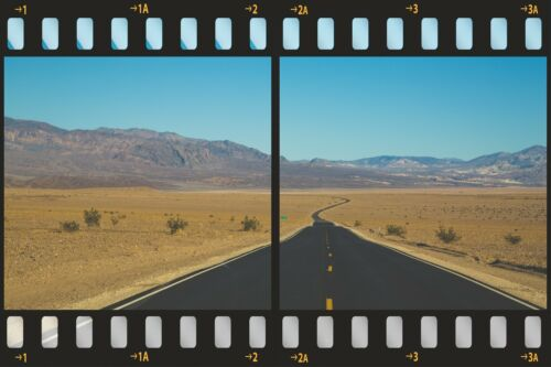 3D Film Strip Route 66 Road Desert Wall Sticker Poster M18-389