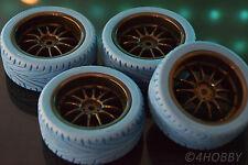 4x Räder Reifen +Felgen Schwarz-Blau 1/10 Weichgummi Sportprofil 1:10 RC Car Rim