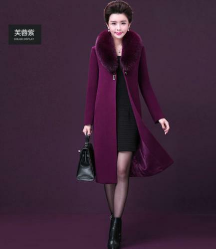 Winter Fur Large Sale uld Coat Womens Collar Overcoat Cashmere Hot Trench Blend rxqr4wYF
