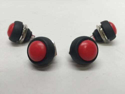 4 PCS MARINE BOAT CAR 12MM MINI ROUND RED PUSH BUTTON SWITCH MOMENTARY ON-OFF