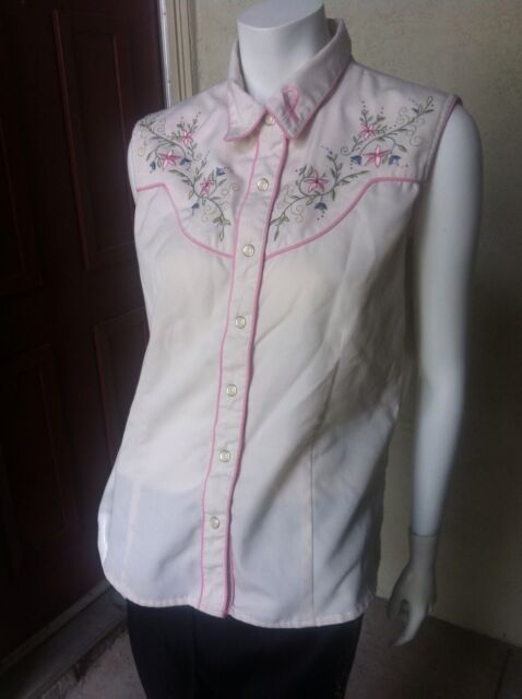 Scully Pink Snap Shirt Blouse Top Western Embroidered Rhinestone Floral L Large