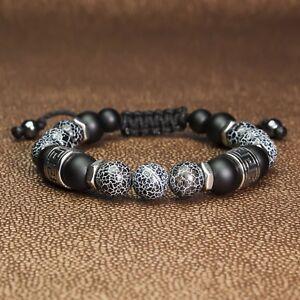 Bracelet Homme Style Shamballa Tibétain perles Pierre naturelle Gemme Agate Inox NfeIySZd-09164244-920122955