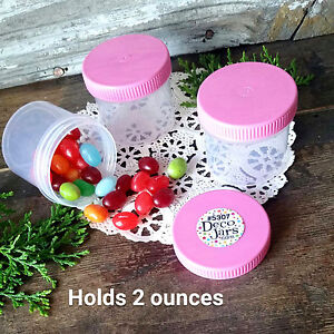 12-New-JARS-2-ounce-Container-Polyprop-Plastic-PINK-Screw-Lids-5307-DecoJars-USA