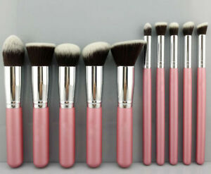 10Pcs-pink-Cosmetic-Make-up-Brushes-Face-Powder-Blusher-Foundation-Kabuki-Brush