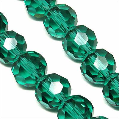Lot de 10 perles à FACETTES 10mm en Cristal de Bohème Vert Clair