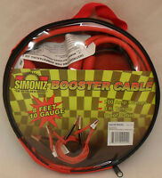 Simoniz Booster Cable 8' 10 Gauge 200 Amp Clamps 8' Tangle Proof Cable