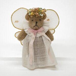 Miniature-Artist-Jointed-Teddy-Bear-Angel-White-Dress-Pink-Wings-Flower-Halo-2-034