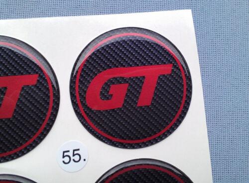4x GT CARBONIO emblemi COPRIMOZZO PER CERCHIONI COPERCHIO 55mm in Silicone Adesivo gt55cr
