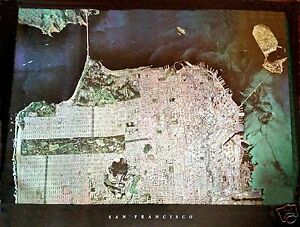 San Francisco LargeColor Glossy Aerial 3D  Mosaic Poster Map RARE & SPECTACULAR!