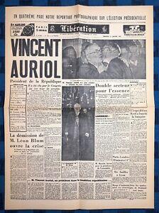 La-Une-Du-Journal-Liberation-17-Janvier-1947-Election-De-Vincent-Auriol