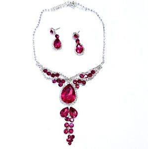 Pink-Rhinestone-Austrian-Crystal-Choker-Necklace-Earring-Set-Pageant-Prom-Bridal