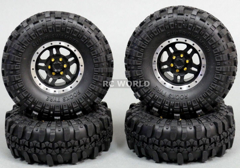 Para Axial 1 10 Escala Camión Llantas 1.9 mm Metal Aluminio Negro 108mm swampers