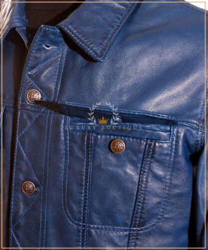 Convoi Blue Men/'s trucker Casual Motard Véritable Cuir D/'AgneAu Cuir Souple Veste Chemise