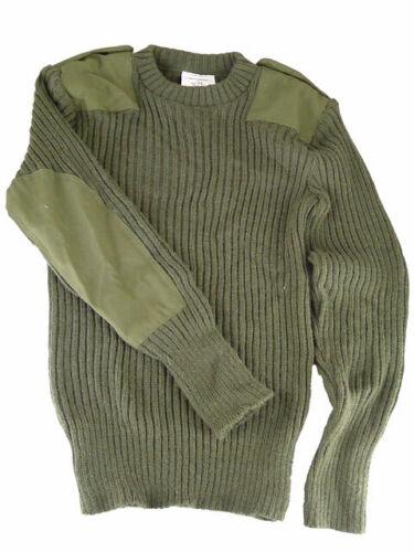 Véritable Britannique Armée Vert Commando Pull Laine Ras Cou XS-XL Vgc