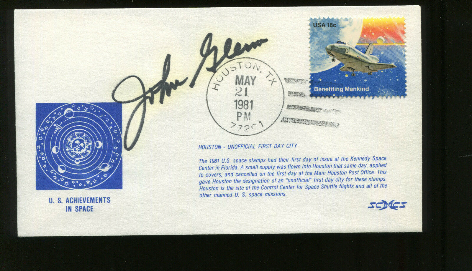 s l1600 - Astronaut JOHN GLENN Signed May 21, 1981 on Space Achievement FDC