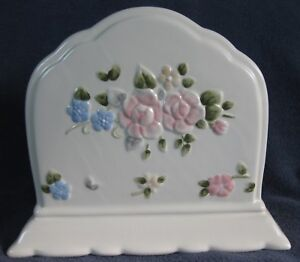 Pfaltzgraff-Tea-Rose-Napkin-Holder-Tall-Stoneware-Scalloped-Embossed