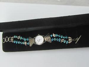 Silver-Moon-Southwestern-Style-Sterling-Silver-925-Turquoise-Bracelet-Watch
