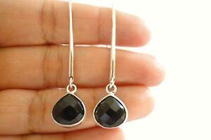 Black-Onyx-Pear-Shaped-Long-Dangle-Drop-925-Sterling-Silver-Earrings