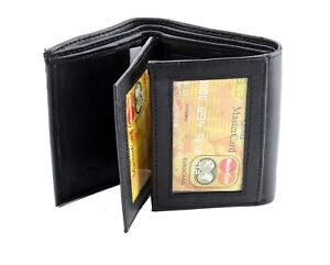 Black-Mens-Trifold-Genuine-Leather-Wallet-Window-ID-Pockets-Holder-Credit-Cards