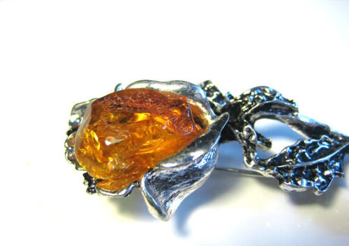 véritable ambre de la Baltique Broche/' rose/'