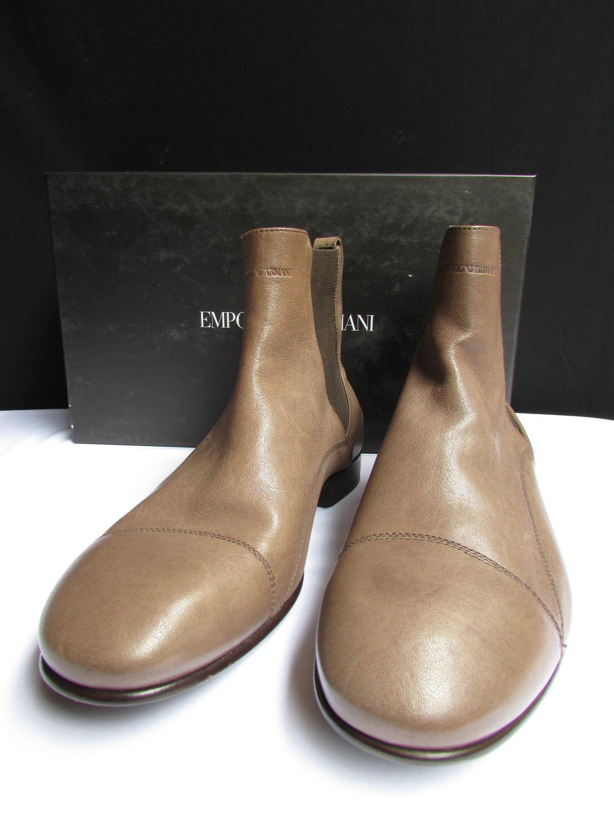 Neu Emporio Armani Herren Stiefel Hell Braune Schuhe Leder Elegant Mode 40 - 6.5