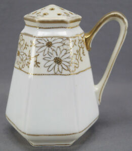 Nippon-Hand-Painted-Gold-Gilt-Daisies-amp-Moriage-Muffineer-Circa-1911-1921