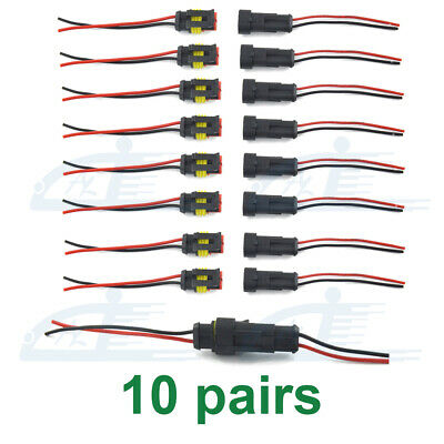 8x Waterproof Electrical Wire Connector Plug Cable Superseal Amp//Tyco 2 Pin 12V