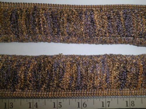 "9 yards WRINKLE BRUSH FRINGE 1 3//4/""  PURPLE//GOLD//GREEN Frizzy Fabric Trim W7077"