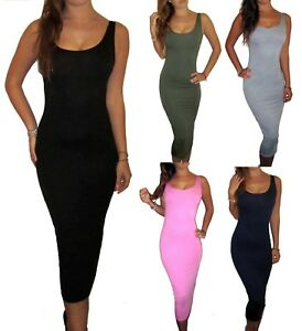 Peaches-amp-Cream-Long-Jersey-Midi-Maxi-Summer-Dress-Black-Size-UK-8-10-12-14-16-18