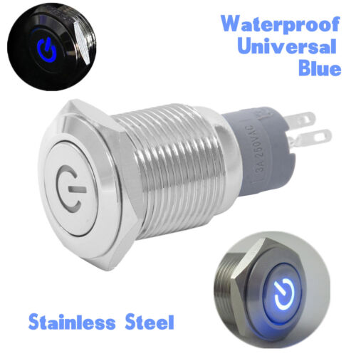 Universal Waterproof 12V 16mm Blue LED Power Button Switch Push ON//OFF For Car
