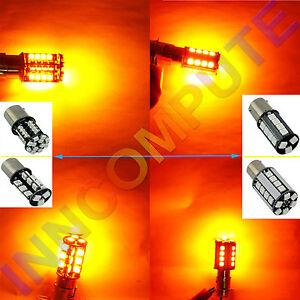 1156 BAU15S PY21W Canbus Error-Free Yellow 27 SMD LED Bulbs 581