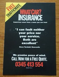 What Car Magazine 1990s Car Insurance Leaflet - <span itemprop='availableAtOrFrom'>UK, United Kingdom</span> - What Car Magazine 1990s Car Insurance Leaflet - UK, United Kingdom